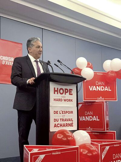 Saint Boniface-Saint Vital MP Dan Vandal was re-elected in the riding in the Oct. 21 federal election. Vandal is pictured here on election night at the Norwood Hotel.