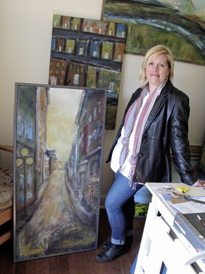 Glenna Evans Mulvihill in her studio at her home in St. Vital. She is one of four collaborating artists that are part of an exhibit called Collective Voices, which will be held at cre8ery gallery (125 Adelaide St.) from April 20 to May 2.