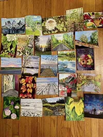 Paintings made for the original Buy Nothing River Heights group by a member last October, then given to the people who supplied the photos.