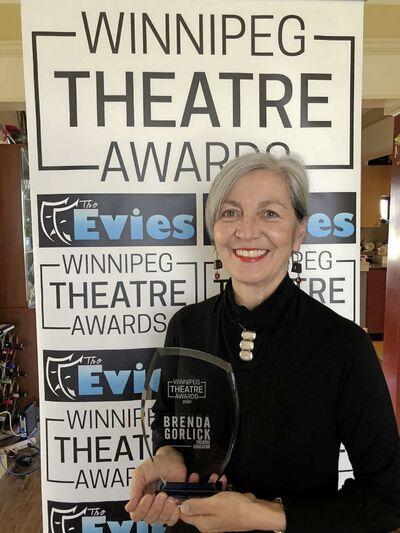Winnipeg Studio Theatre's Brenda Gorlick won an Evie in the theatre education category.