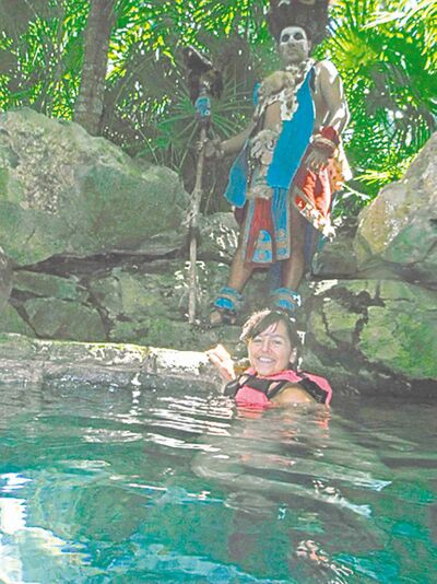 Be sure to watch out for Mayan warriors while swimming along the underground rivers at Xcaret Park.