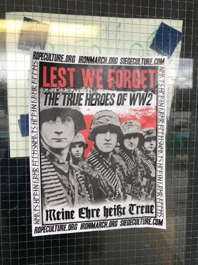 Pro-Nazi posters, an example shown in a handout image from the weekly student newspaper of the University of British Columbia, were found on all entrances of the War Memorial Gym by attendees of UBC's Remembrance Day ceremony THE CANADIAN PRESS/HO-University of British Columbia-Ubyssey student newspaper