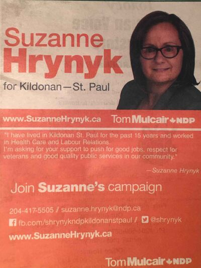 This NDP ad for Kildonan-St. Paul candidate Suzanne Hrynyk ran in the Ukrainian Voice.