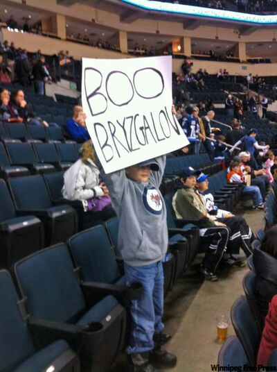 Eight-year-old Donavan Collier showed up at the MTS Centre with a Boo Bryzgalov sign aimed at Flyers goalie Ilya Bryzgalov. Bryzgalov spied the sign and on his way off the ice stopped to hand the youngster his goal stick.