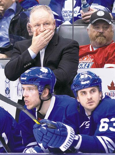 Hmmm. Maple Leafs head coach Randy Carlyle ponders the situation.