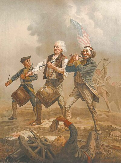The Spirit of '76 depicts three musicians marching across a battlefield after victory. On the right, playing the fife, is Hugh Mosher.