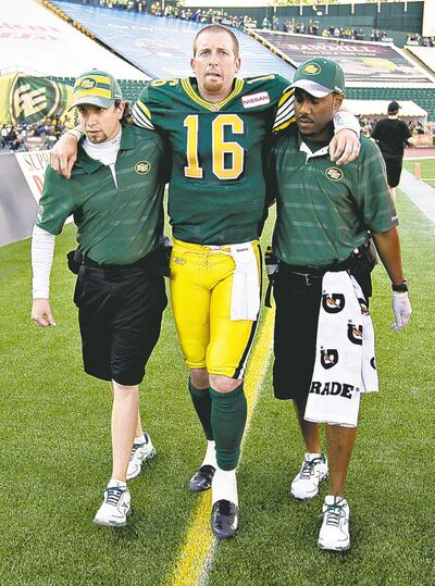 Eskimos pivot Matt Nichols ended his bid for the starter's job -- and any hope of game time in 2013 -- by tearing his ACL in a meaningless game.