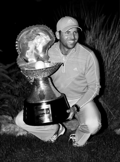 Osama Faisal / the associated pressSergio Garcia shows off his huge trophy as  winner of the Commercial Bank Qatar Masters.