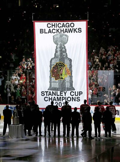 The Chicago Blackhawks' raise a Stanley Cup championship banner in the United Center during a ceremony in 2015. The Blackhawks are the closest thing to a modern-day dynasty with three championships in five years.