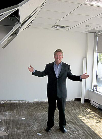 The office of Auto Haus Volkswagen's general manager, Gerald Boiteau, is now a construction site