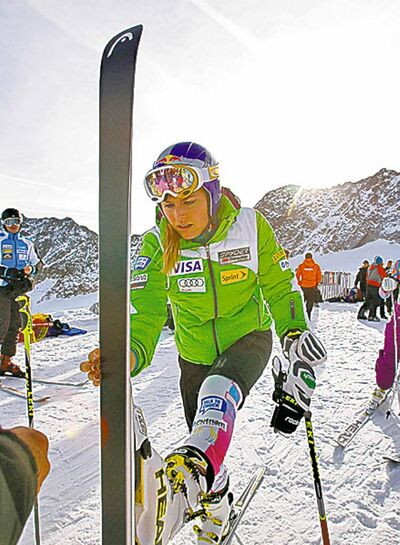 the associated press archivesLindsey Vonn is back practising after a bout of gastrointestinal illness.