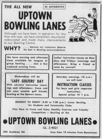 WINNIPEG TRIBUNE FILES</p><p>An early ad for Uptown Bowling Lanes published in a city newspaper on Sept. 8, 1961.</p>