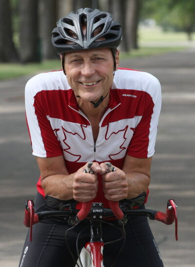 John Sawchuk, 65, who is preparing to compete in the 2014 ITU World Triathlon Championships in Edmonton on Aug. 26-Sept. 2.