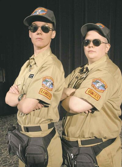 Shawna Dempsey (left) and Lorri Millan practise performance art in Lesbian National Parks and Services.