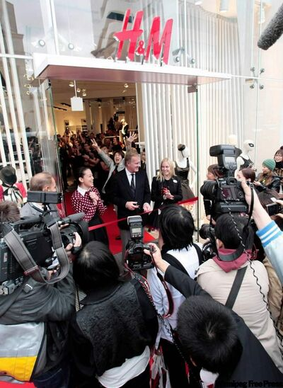 Hennes & Mauritz, which drew long lines with its first Japan store, had its second shop opening in Tokyo 2008 with H & M Chairman Stefan Persson cutting the tape to open the store.