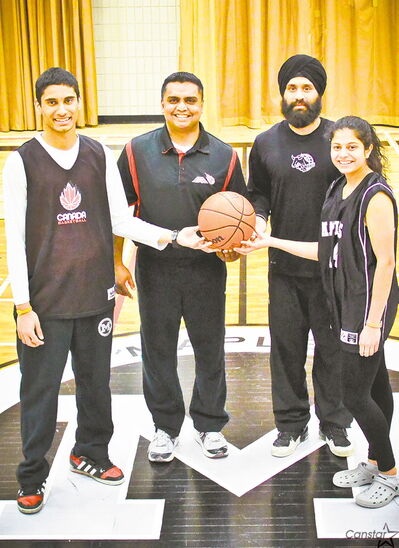 Principals in the Unity Basketball Association — (from left) Eric Braganza, Manoj Nowrang, Sukhvir Singh, Divya Punj — look ahead to a summer of round ball.
