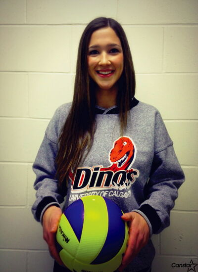 Miles Macdonell outside hitter Brianna Solberg recently committed to the University of Calgary Dinos.