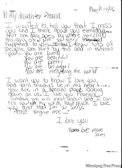 A letter that Samantha Kematch wrote to her dead daughter was entered as an exhibit at trial.
