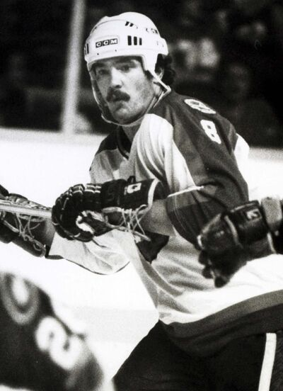 Winnipeg Jets enforcer Jimmy Mann in the 1980s. (Ken Gigliotti / Winnipeg Free Press files)</p>