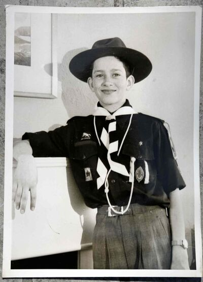 A young Sel Burrows in his Westworth United Church Boy Scouts troop uniform.  (Supplied)