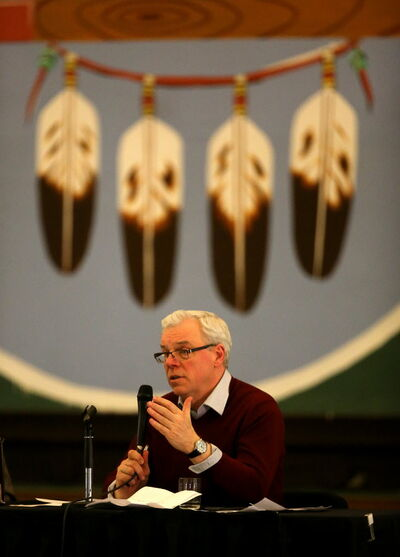 Premier Greg Selinger shown speaking at an NDP leadership debate at the Aboriginal Centre in Winnipeg on Thursday.