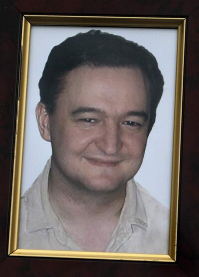 A portrait of lawyer Sergei Magnitsky who died in jail.