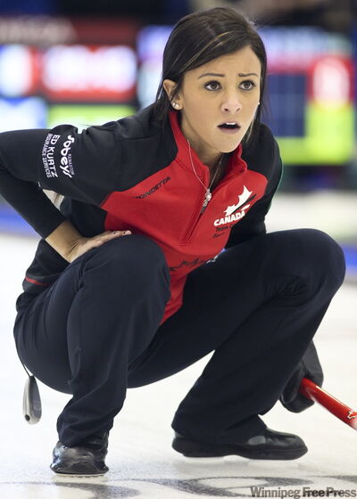 Canada's third Jenna Loder watches her stone at the world juniors in Vancouver.