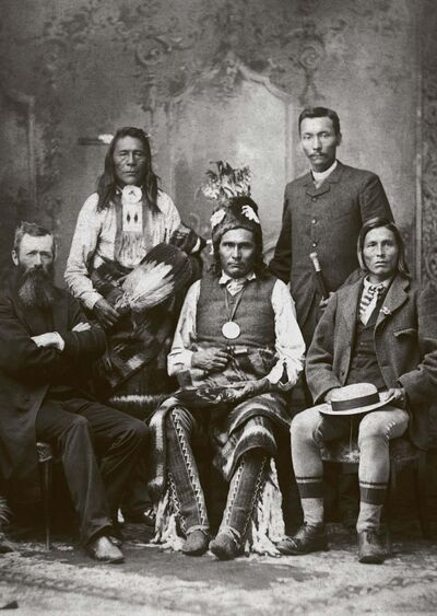 Glenbow-Alberta Archives</p><p>From left: Rev. John McDougall, Chief Samson, Chief James Seenum (Pakan), Reverend Henry Bird Steinhauer, and Chief Goodstoney in an 1886 photo.</p>