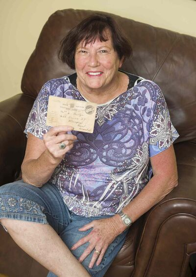 Allison Bridge has a card that her grandfather sent to her grandmother (his wife) confirming that he was now a prisoner of war.