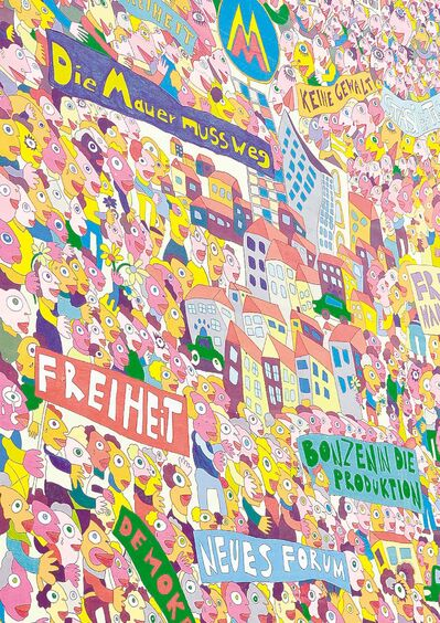 Leipzig�s streets are lined with murals commemorating the �Peaceful  Revolution.�