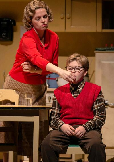 Sharon Bajer, left, and Ben McIntyre-Ridd  in A Christmas Story, a stage adaptation of the beloved holiday movie.