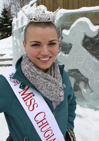 FILE - In this March 14, 2012 file photo, Miss Chugiak-Eagle River Debbe Ebben poses for a photo in Town Square Park in Anchorage, Alaska. Alaska's bald beauty queen is heading to a bigger stage. Ebben, who shaved her head in March to raise money for the St. Baldrick's Foundation, and who's hair is now tomboy length, was chosen over the weekend as Miss Alaska and will compete for the 2013 Miss America title. (AP Photo/Dan Joling, file)