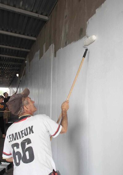 JOE BRYKSA / WINNIPEG FREE PRESSPoint Douglas activist Sel Burrows joins the Point Douglas Residence Committee Green Team that took part in painting the dark underpass near Main St and Higgins Ave white to brighten it up- Other volunteer groups included the Manitoba Metis Federation, Core Pride, and the North End Biz-Take Pride Winnipeg. -  July 20 , 2017 -( StanSee Randy�s 49.8 feature)