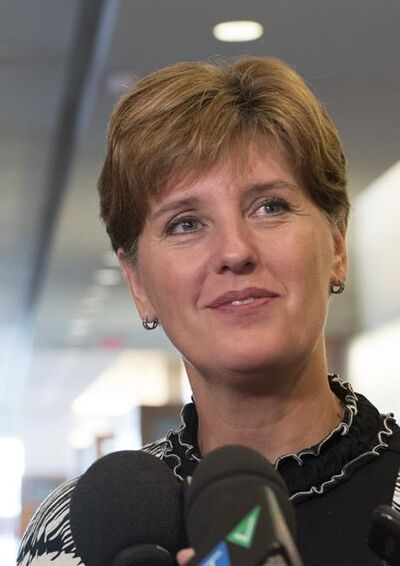 Marie-Claude Bibeau, Minister of Agriculture and Agri-Food, speaks during a news conference following a meeting with the the pork and beef industries in Montreal, on July 3, 2019. Canada's agriculture ministers has announced $8.3 million in funding to support Canada's beef industry, the bulk of it aimed at reaching new markets. THE CANADIAN PRESS/Graham Hughes