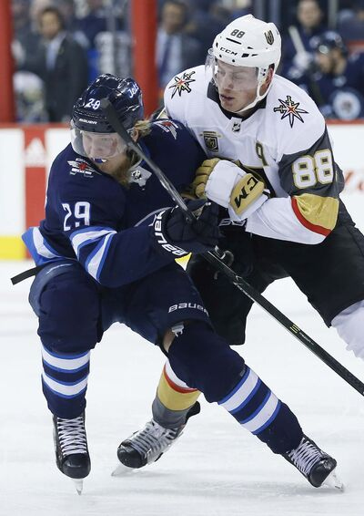 THE CANADIAN PRESS/John Woods</p><p>Vegas Golden Knights&#39; Nate Schmidt and Winnipeg Jets&#39; Patrik Laine collide during a regular season game in February. The Jets will now face the Golden Knights in the Western Conference Finals.</p>