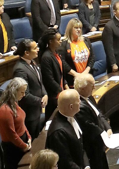15 new faces made their first appearance on opening day of of the new session at the Manitoba Legislature in Winnipeg, Monday.
