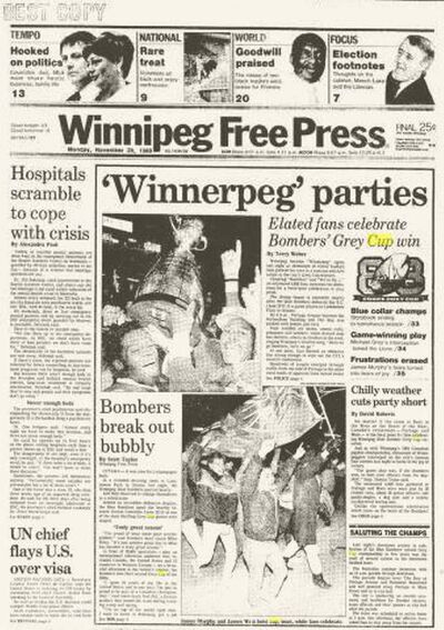 Front page from the Winnipeg Free Press on Nov. 28, 1988, the day after the Blue Bombers won the Grey Cup.