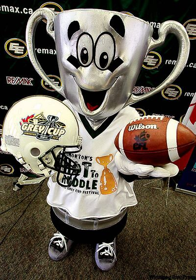 Earl, the 2010 Grey Cup mascot, was named in honor of Lord Earl, the popular Governor General of Canada who awarded the first Grey Cup in 1909 to the top amateur Canadian football team.   (Photo by  Brian J. Gavriloff / Edmonton Journal/Canwest News Service)