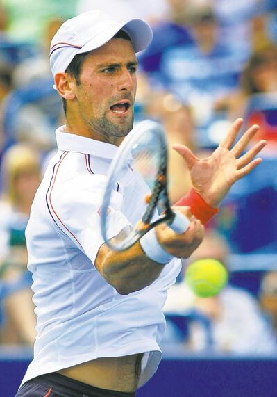 Novak Djokovic defeated Juan Martin del Potro in a rematch of their Olympic contest.