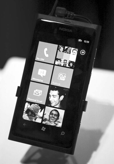 JULIE JACOBSON / THE ASSOCIATED PRESS ARCHIVESThe Nokia Lumia 800 Windows-based phone is seen at the 2012 International CES trade show in Las Vegas last January.