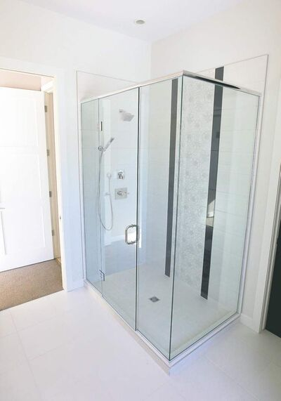 One of three bathrooms features a walk-in shower.
