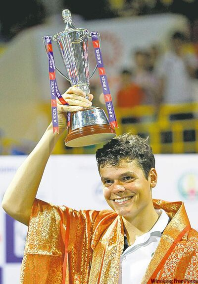 aijaz rahi / the associated press archivesCanada�s Milos Raonic won his first ATP title on Jan 8. in India.