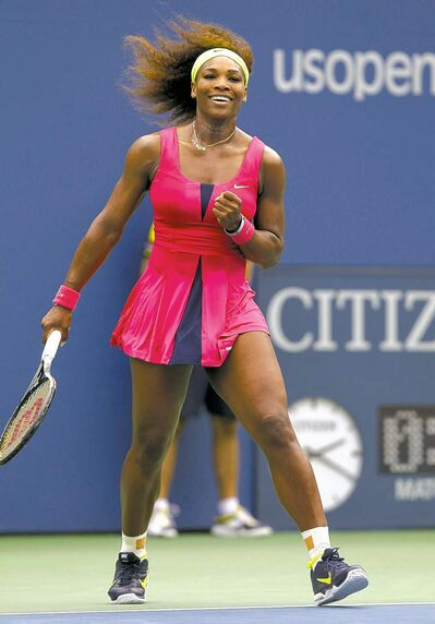 Serena Williams is happy with her performance after winning her fourth-round match against Andrea Hlavackova.