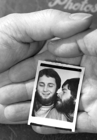 Gay couple Richard North (left) and Chris Vogel in photograph  of themselves at the time of their 1974 marriage.