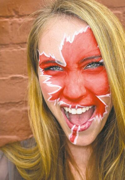 Model Issy Dahl, with face painting by Daena Groleau, makeup artist and owner of Fine Eyes Makeup Artists.