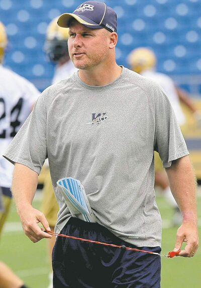 JOE.BRYKSA@FREEPRESS.MB.CA  Sports-(See Ed and Adam's stories) -  Winnipeg Blue Bomber head coach Paul LaPolice  during practice Thursday morning at Canad Inns Stadium  - JOE BRYKSA/WINNIPEG FREE PRESS- July 29, 2010 close cut closecut