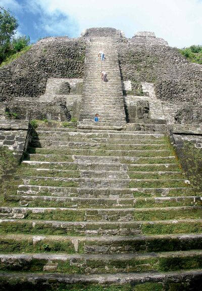 Climbing the ridiculously steep steps at the High Temple at the ruins in Lamanai is bucket-list worthy.