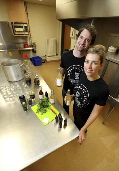 Teri-Lynn and Chad Friesen, owners of Abiding Citizen, a line of bitters and shrubs for cocktails. (Trevor Hagan / Winnipeg Free Press)</p>