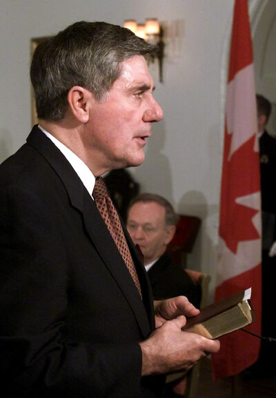 Ronald Duhamel is sworn in as Minister of Veterans Affairs at a ceremony at Rideau Hall in Ottawa in October, 2000.