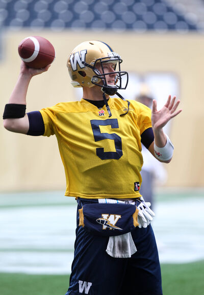 Winnipeg Blue Bombers QB Drew Willy practices with his team on Investors Group Field Wednesday.  Oct 01,  2014 Ruth Bonneville / Winnipeg Free Press